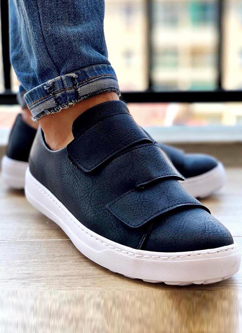 Мъжки черни обувки с лепенки О76