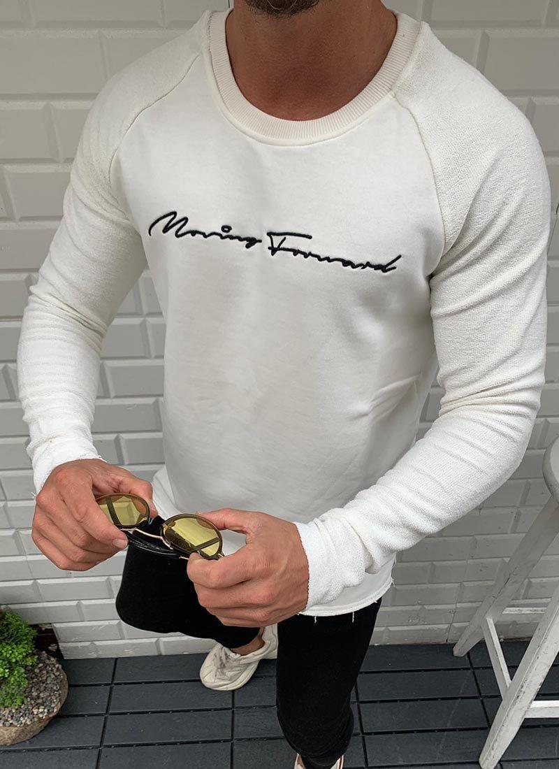 Мъжка бяла блуза с черен надпис