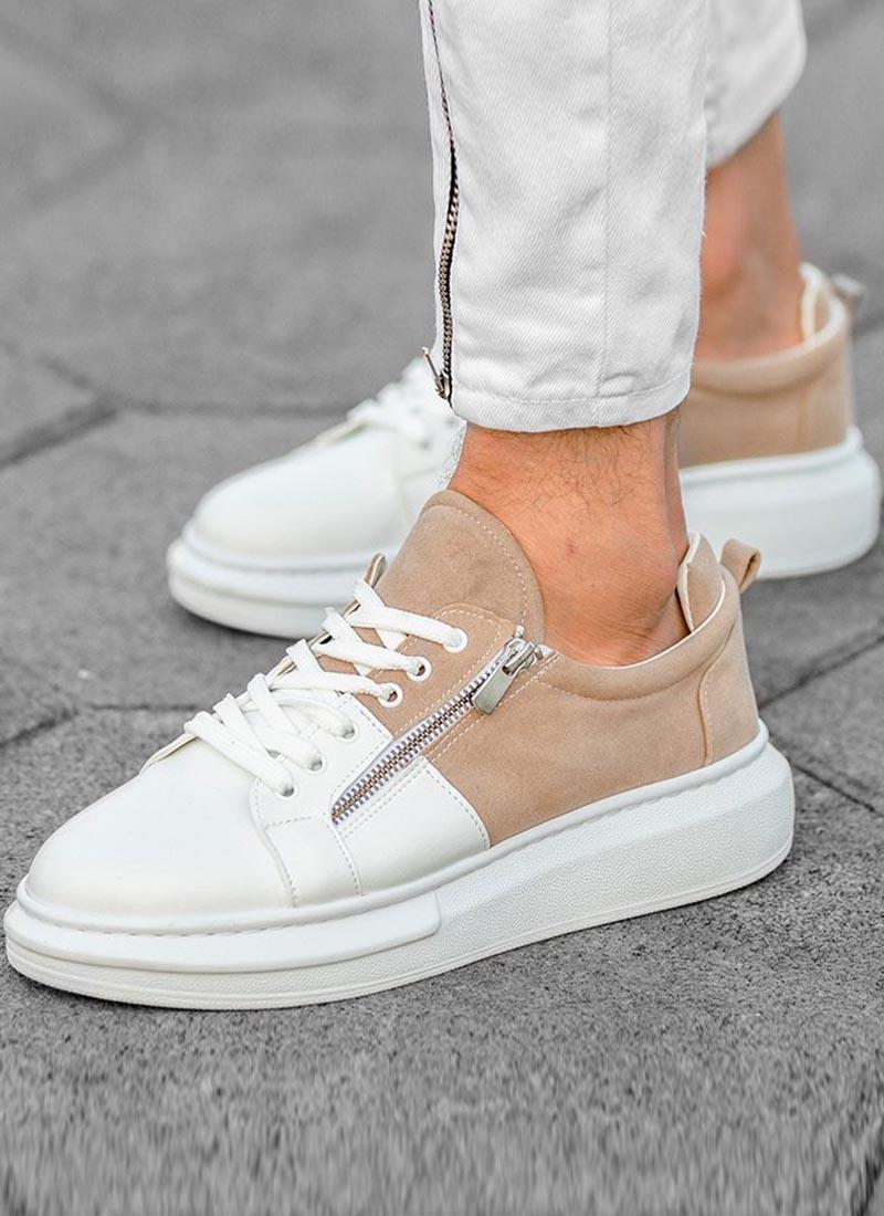 Мъжки ежедневни обувки бяло и бежово О98