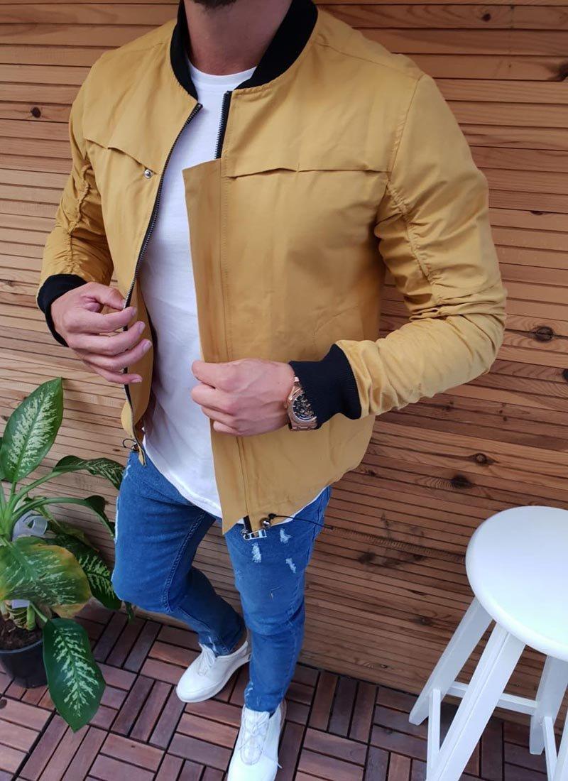 Мъжко пролетно яке в жълт цвят