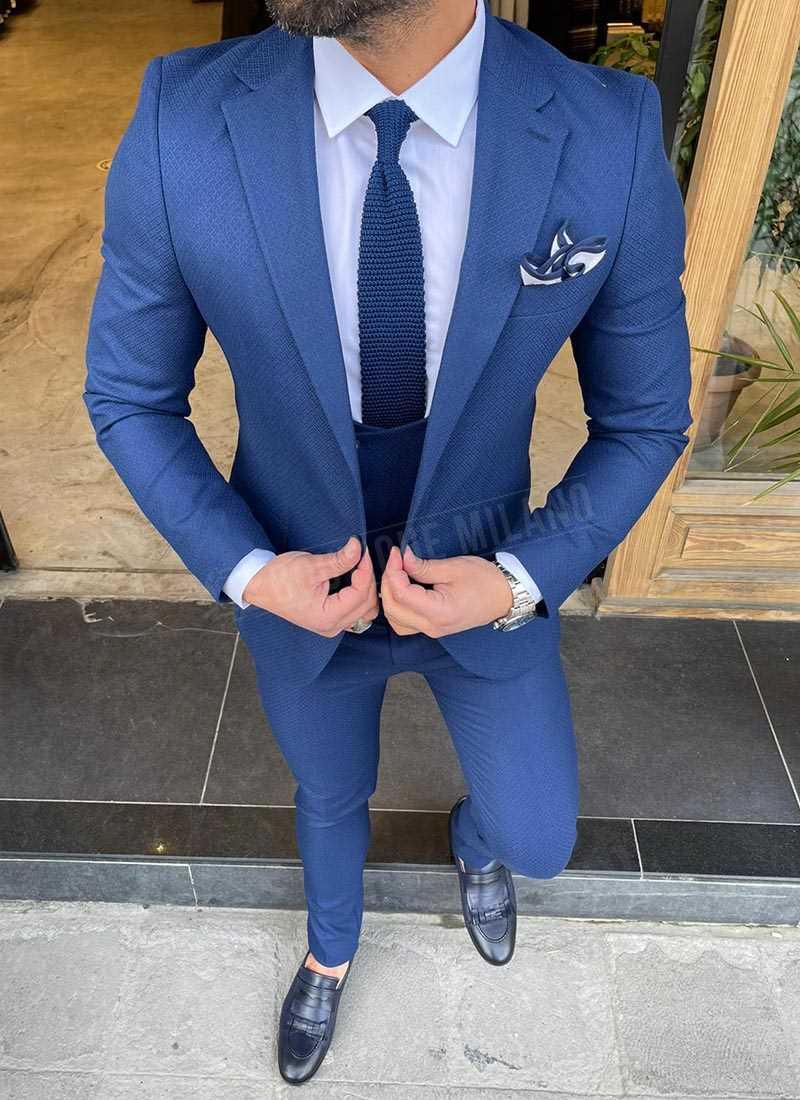 Мъжки втален костюм в синьо 1161-2