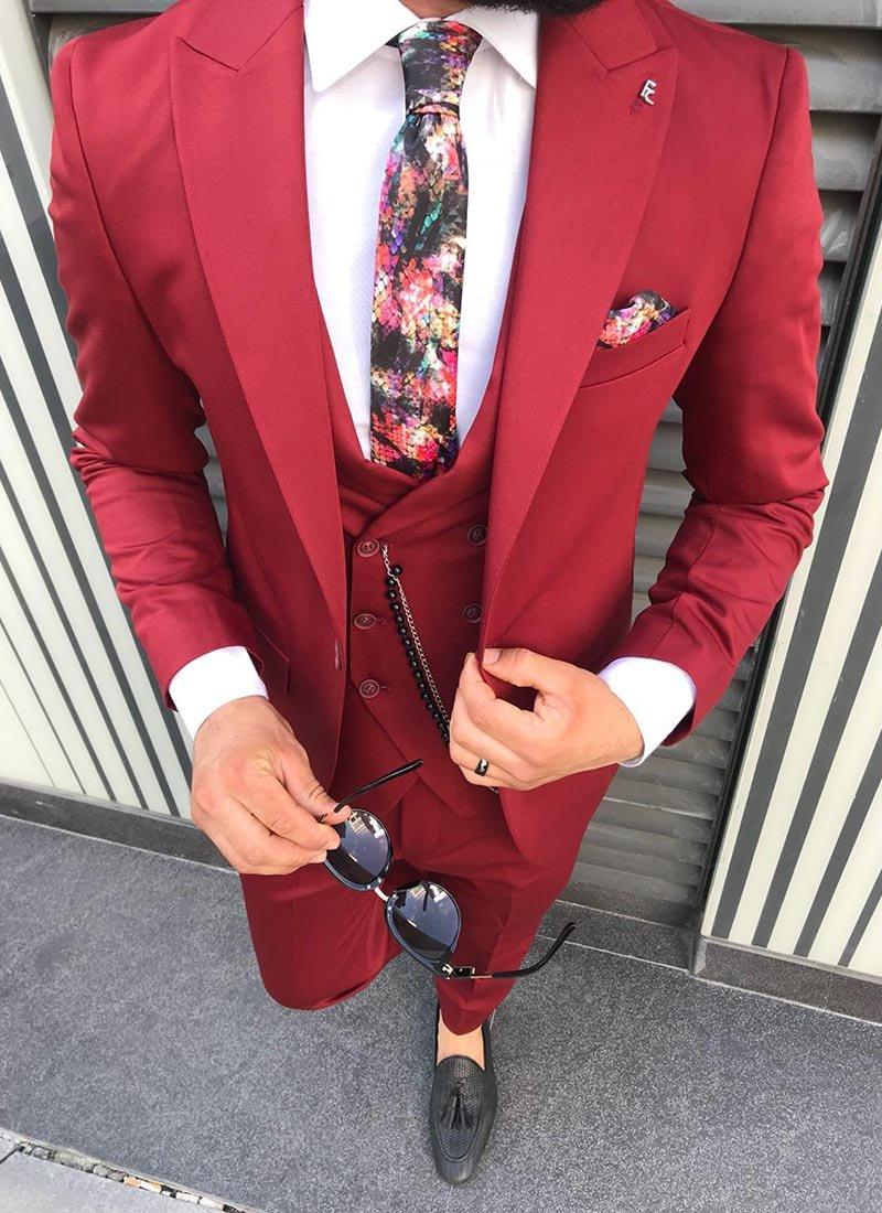 Мъжки втален костюм в цвят бордо