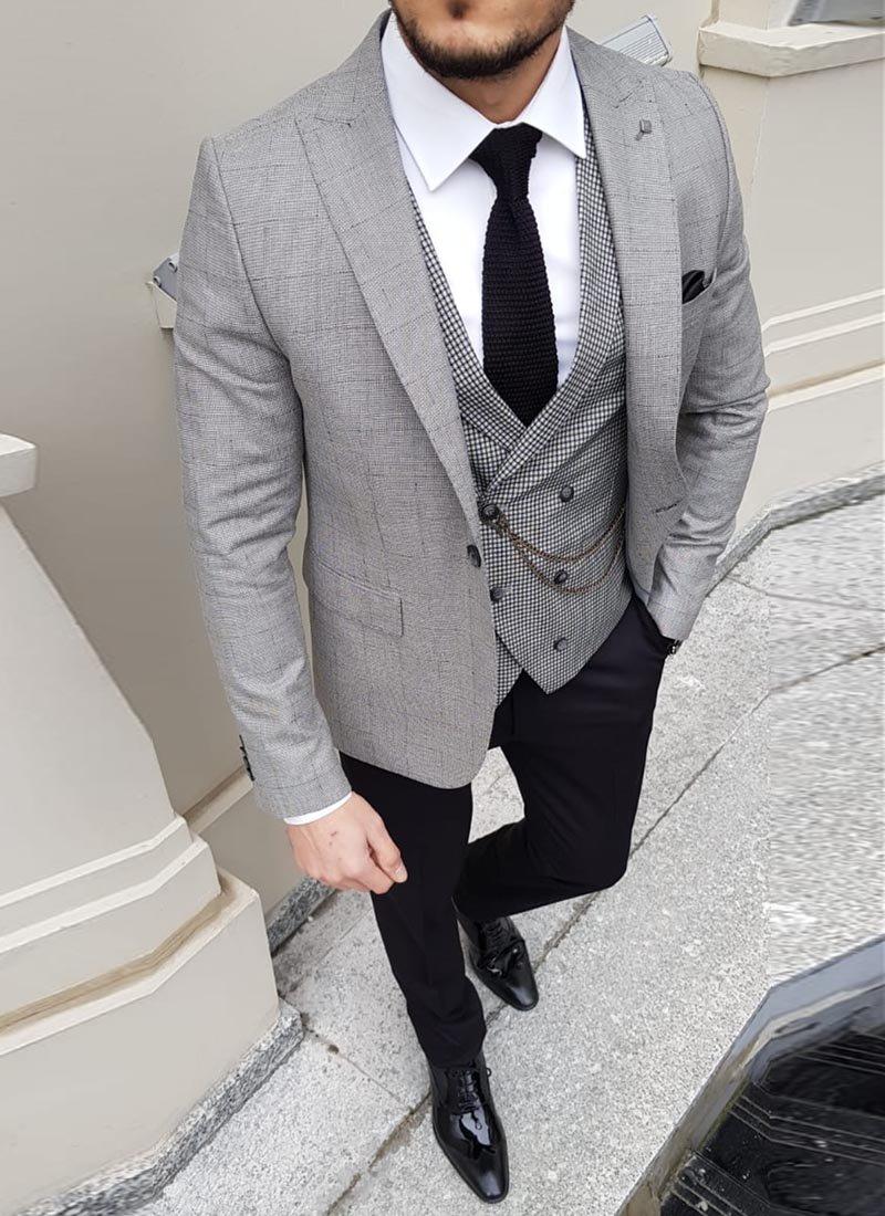 Мъжки втален костюм каре светло сив