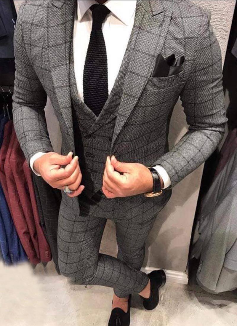Мъжки костюм тъмно сив цвят каре 2511