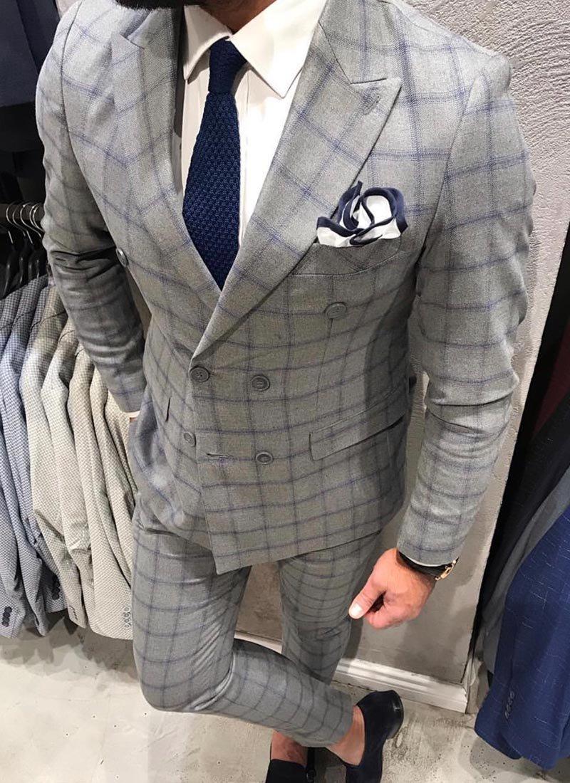 Мъжки втален сив костюм синьо каре