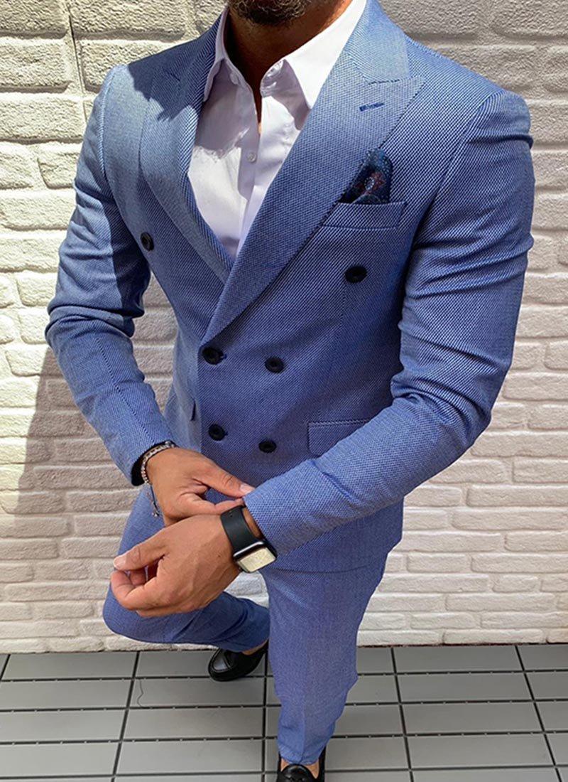 Мъжки втален светло син костюм