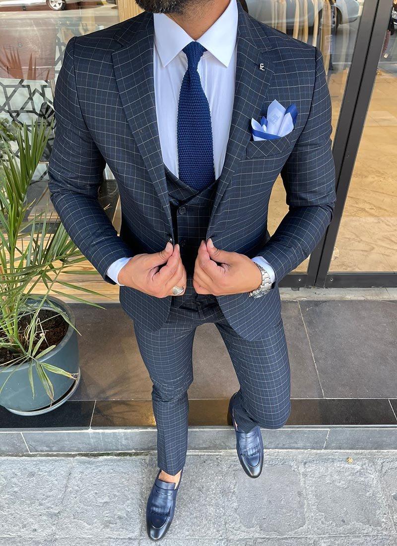 Мъжки втален костюм кариран тъмно син