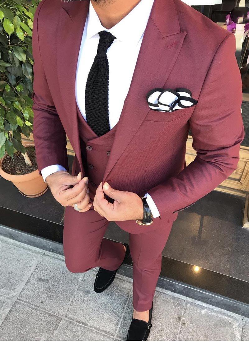 Мъжки втален костюм бордо цвят 2821
