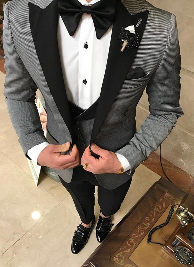 Мъжки втален смокинг в сив цвят