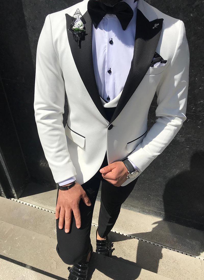 Мъжки втален бял блестящ смокинг