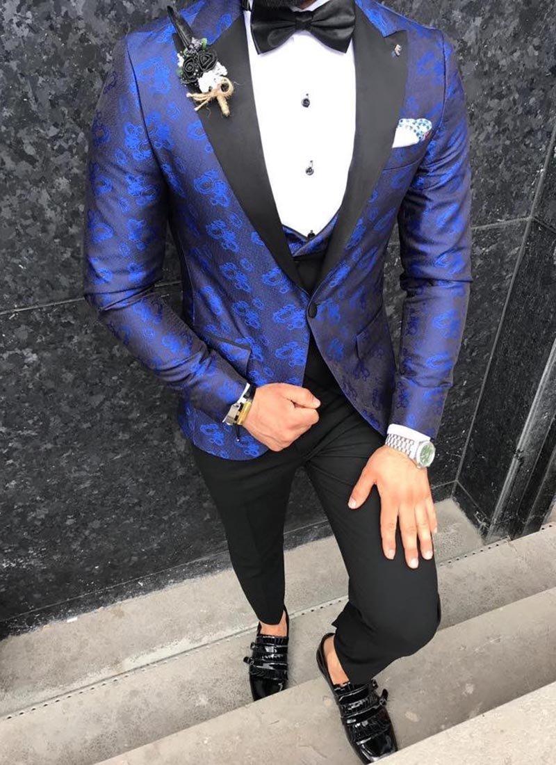 Мъжки втален светло син смокинг жакард