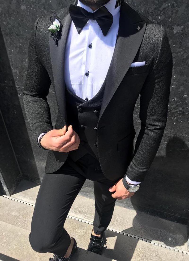 Мъжки втален смокинг черен цвят блестящ