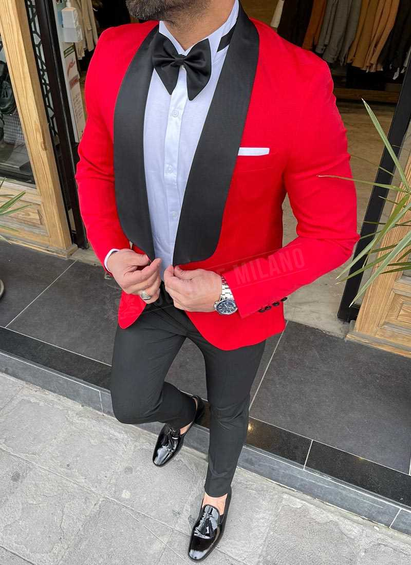Мъжки втален смокинг червен цвят