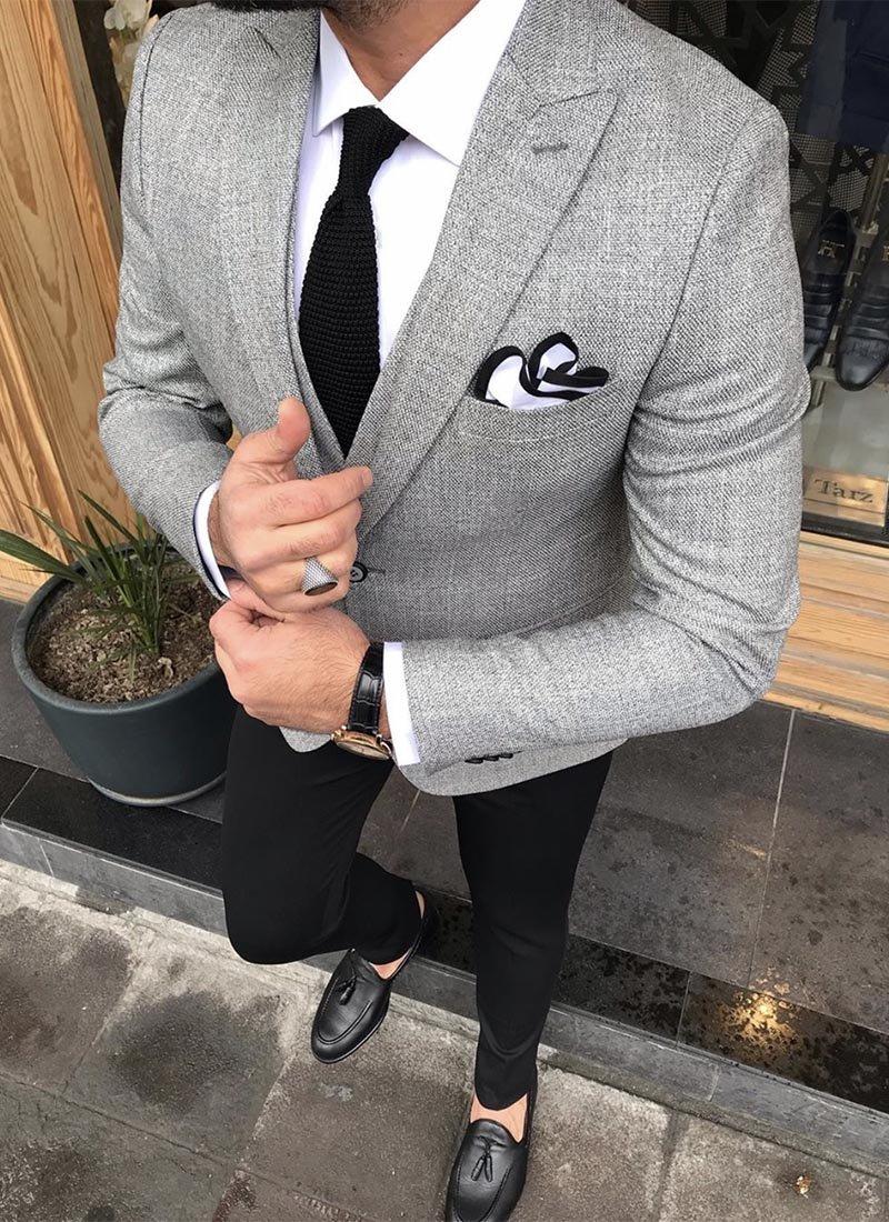Мъжки костюм сив цвят черен панталон 0115