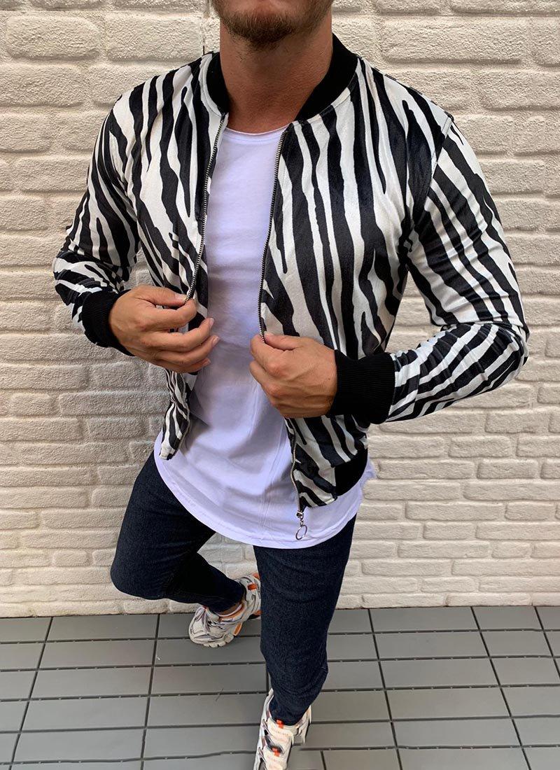Мъжко пролетно черно-бяло яке Изчистен спортно-елегантен модел подходящ за всякакви поводи през пролетния сезон