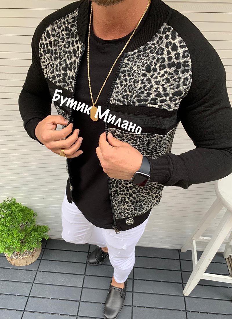 Мъжко черно яке с леопардов десен