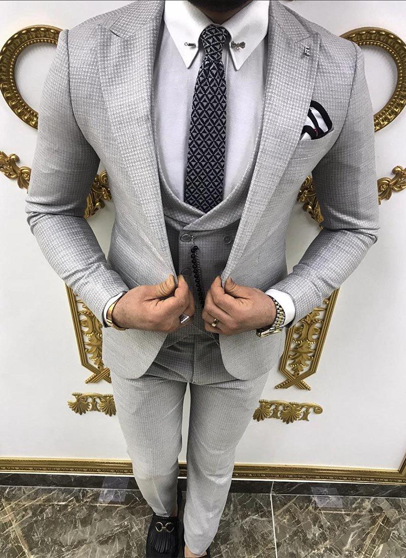 Мъжки втален костюм в сив цвят 3561-1