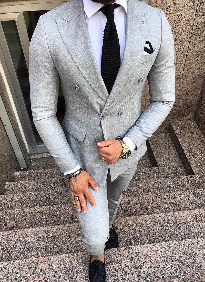 Мъжки втален костюм в сив цвят 3801