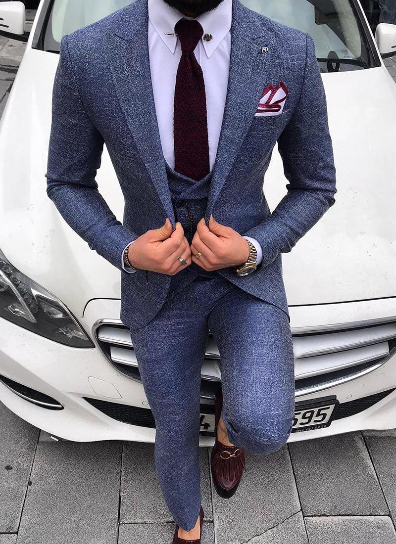 Мъжки втален костюм син цвят 3821-1