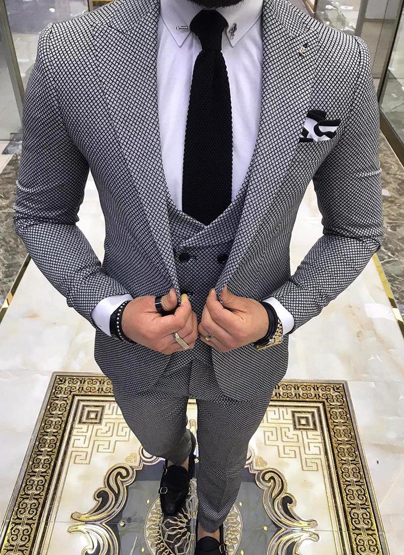 Мъжки втален костюм в сив цвят 3861-1