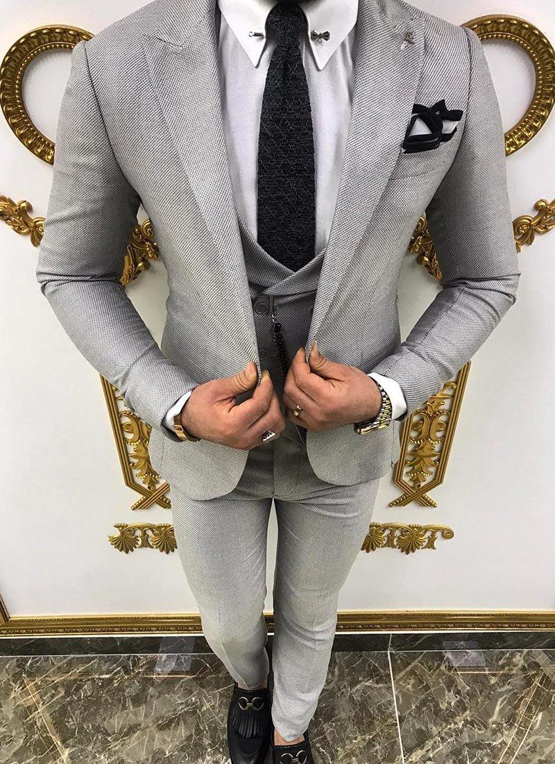 Мъжки втален костюм в сив цвят 3861-3