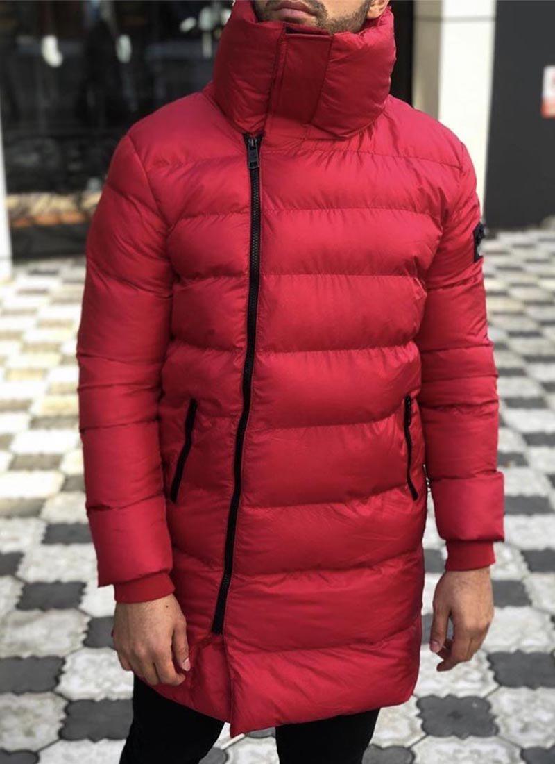 Мъжко зимно яке в червен цвят К5007-3