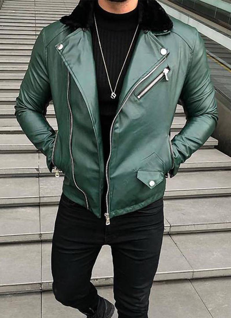 Мъжко кожено яке в зелен цвят