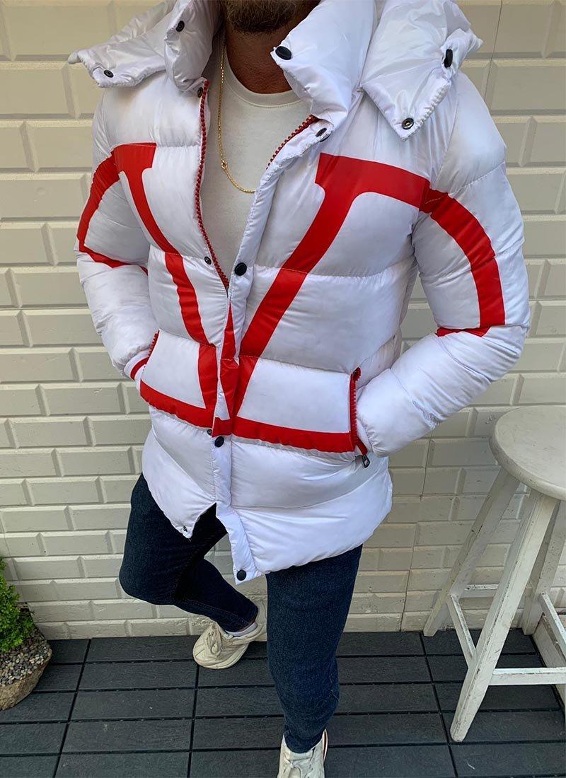 Мъжко зимно яке в бял и червен цвят К161