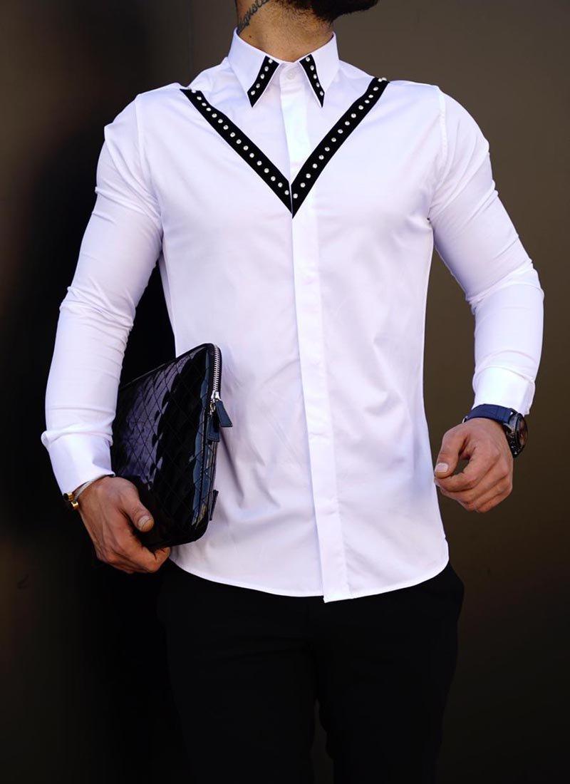 Елегантна мъжка риза бял цвят