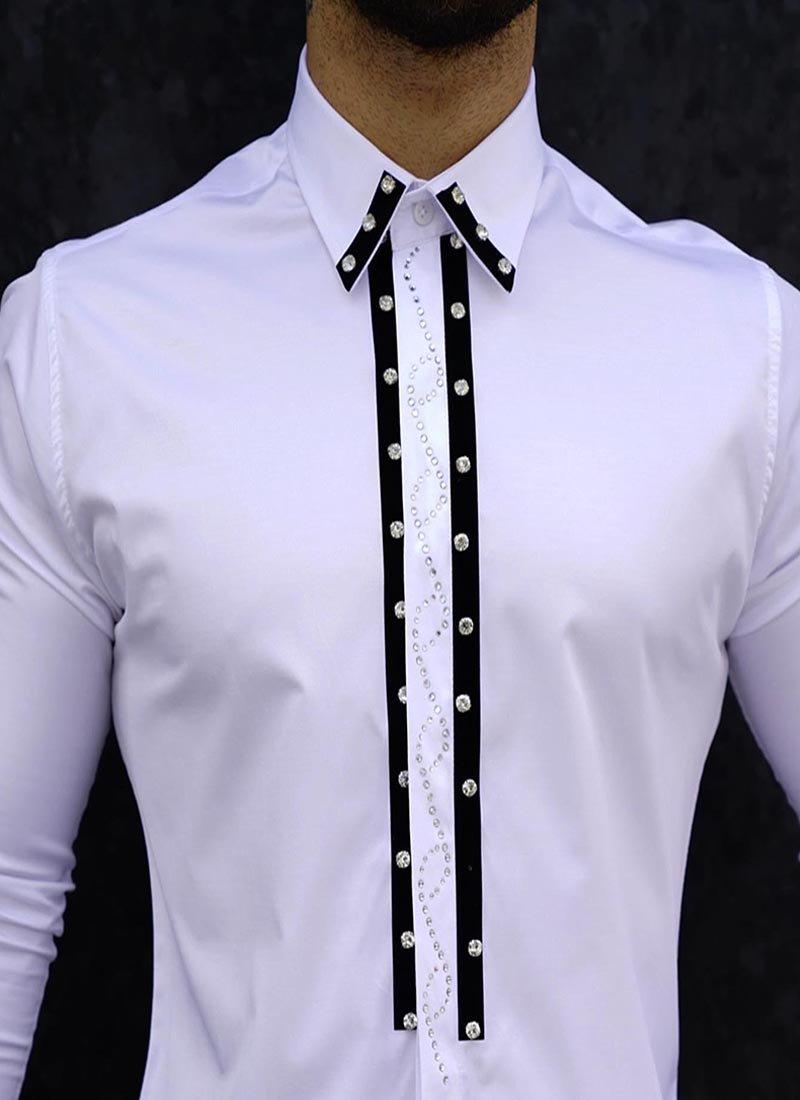 Елегантна мъжка бяла риза камъчета