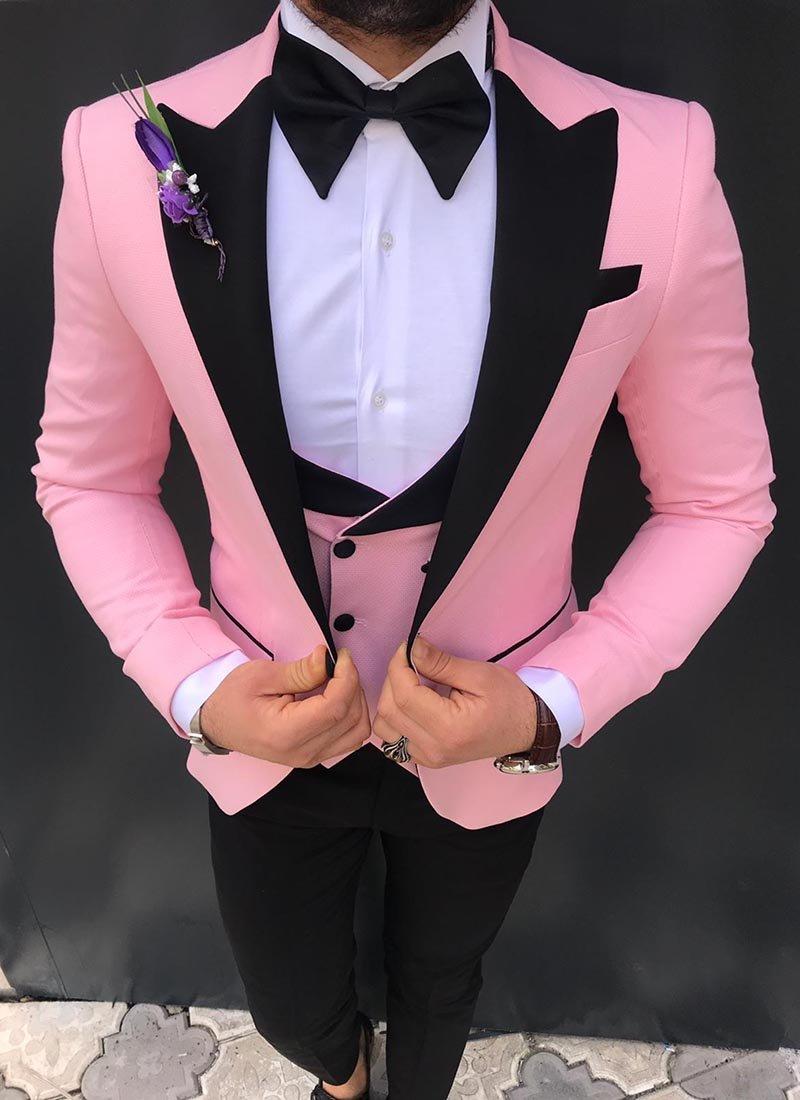 Мъжки втален смокинг в розов цвят 2881-1