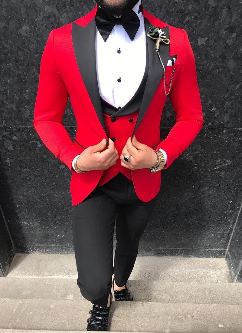 Мъжки втален смокинг в червен цвят 3091-4