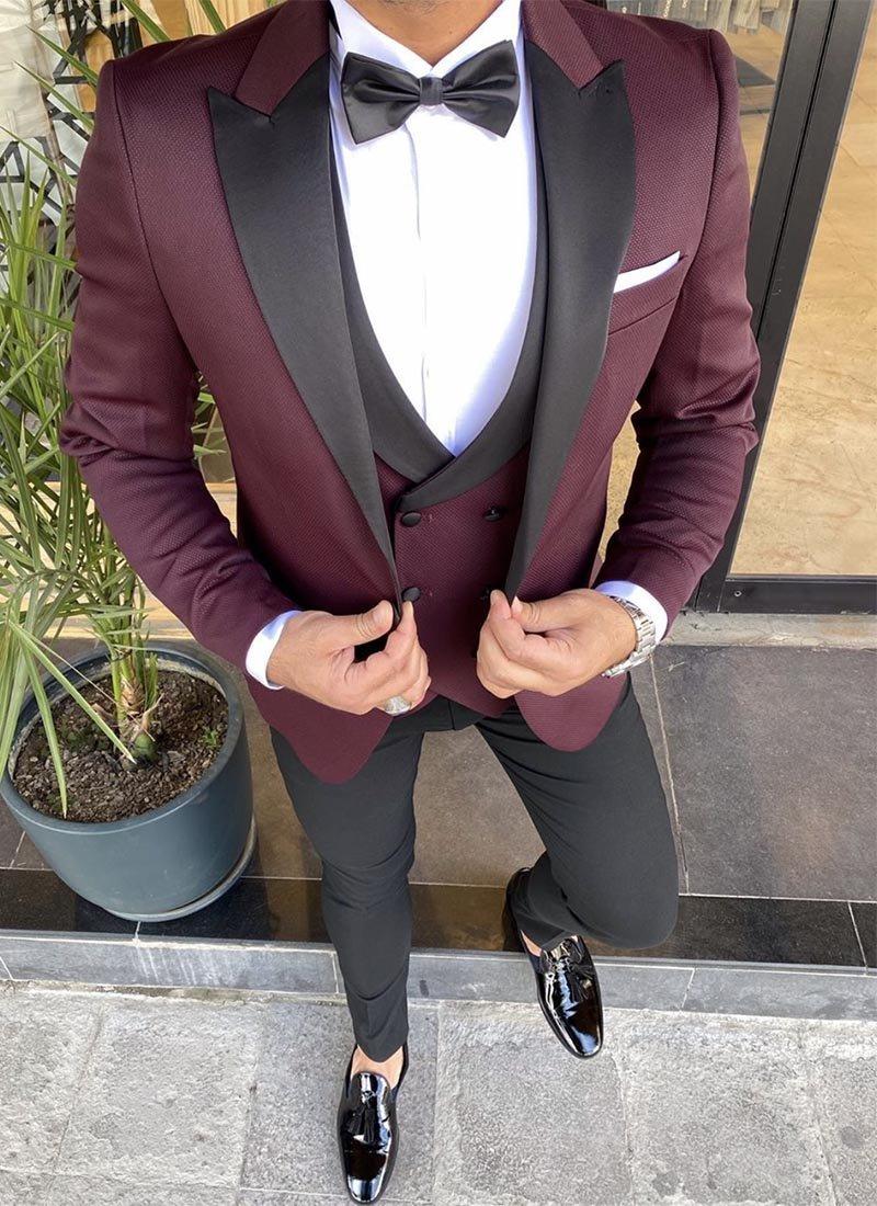 Мъжки втален смокинг цвят бордо 3091-3