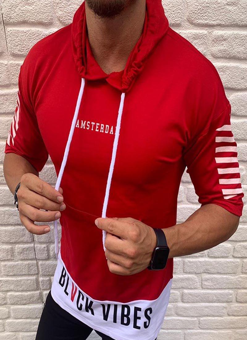 Мъжка блуза в червено 3/4 ръкав