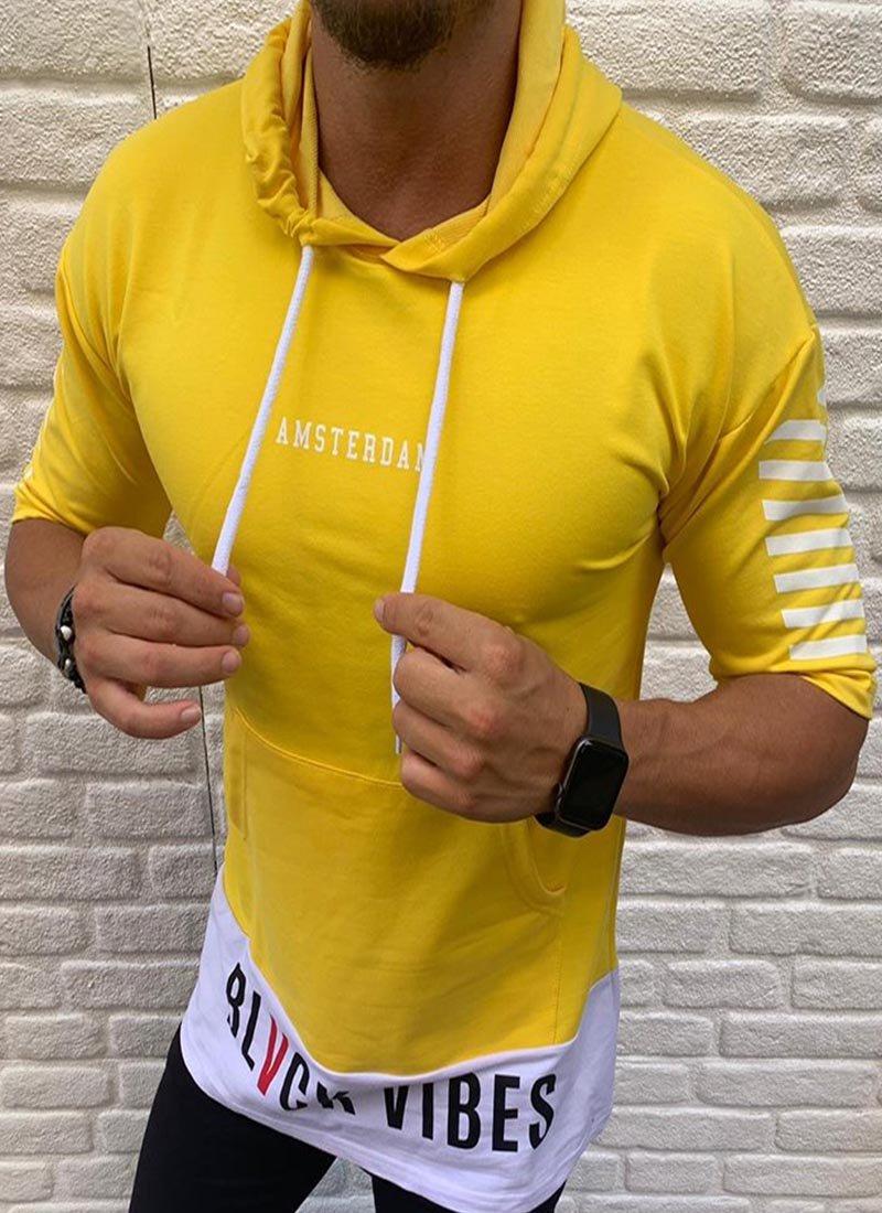 Мъжка блуза в жълто 3/4 ръкав