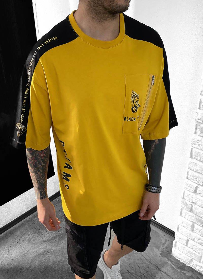 Мъжка тениска жълто и черно надписи