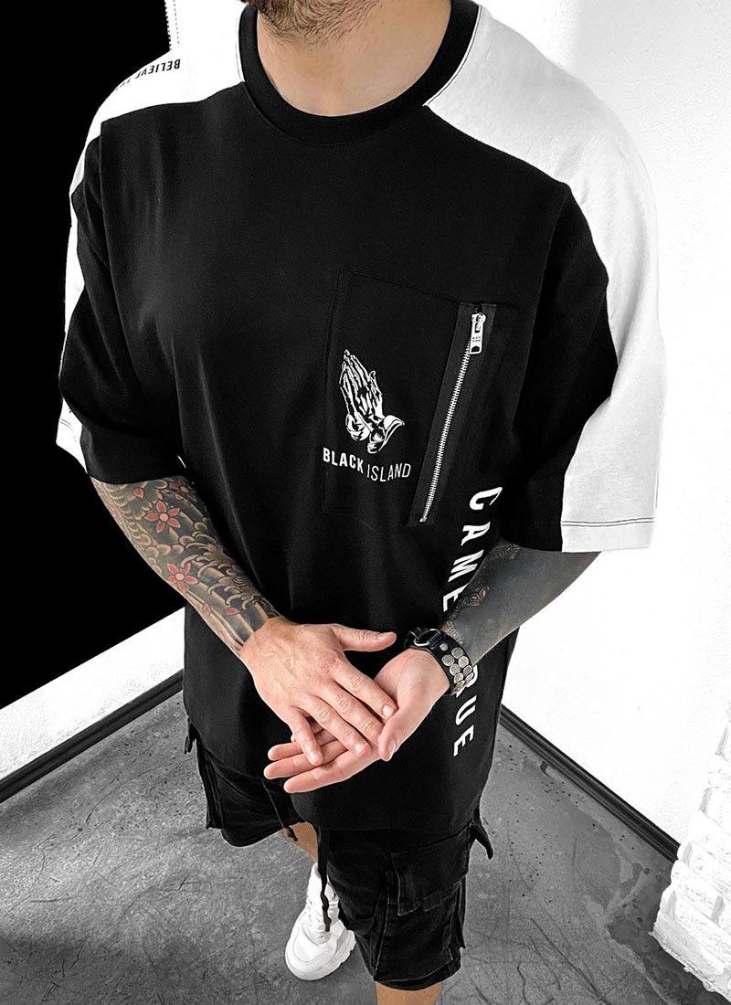Мъжка тениска черно и бяло надписи