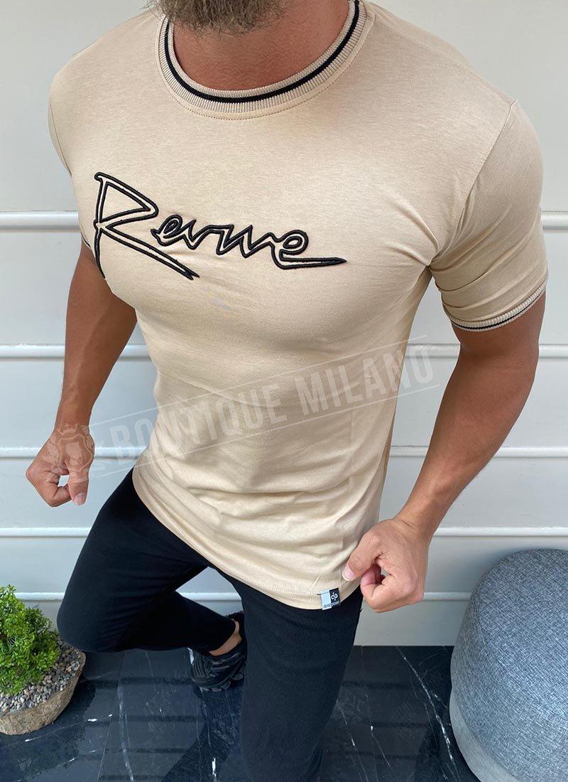 Мъжка вталена бежова тениска с надпис
