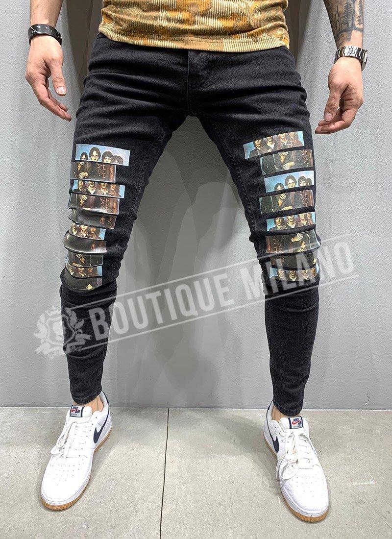 Мъжки дънки в черен цвят с щампи А110