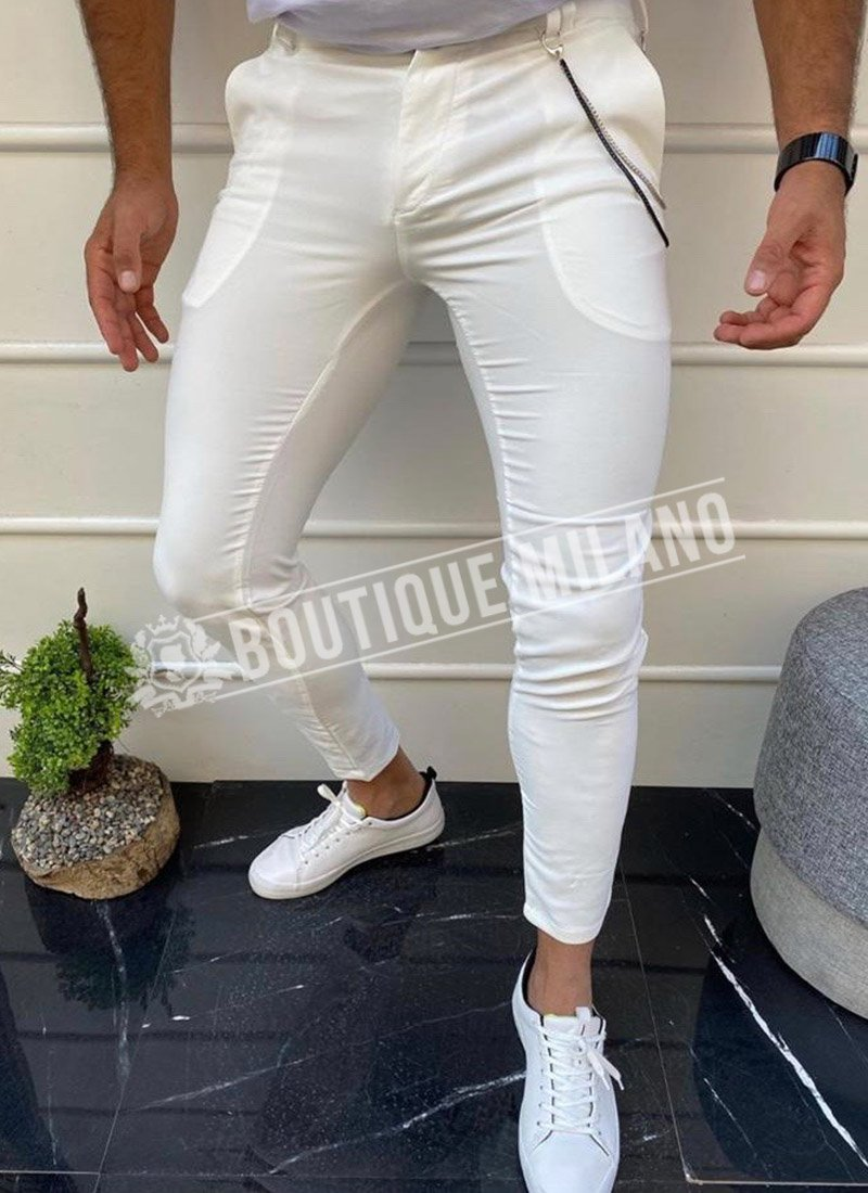 Мъжки спортно елегантен панталон в бяло П036