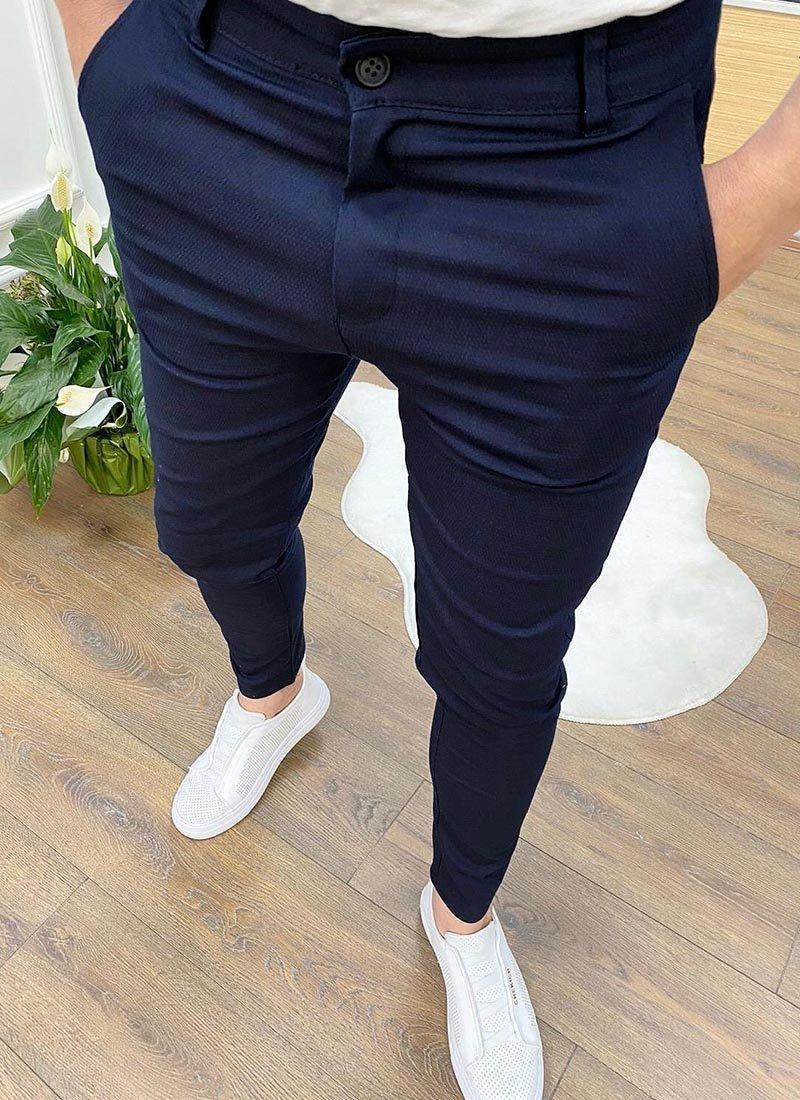 Мъжки елегантен панталон тъмно син цвят П08