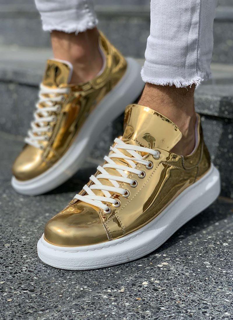 Мъжки обувки в златист цвят лачени CH260-011