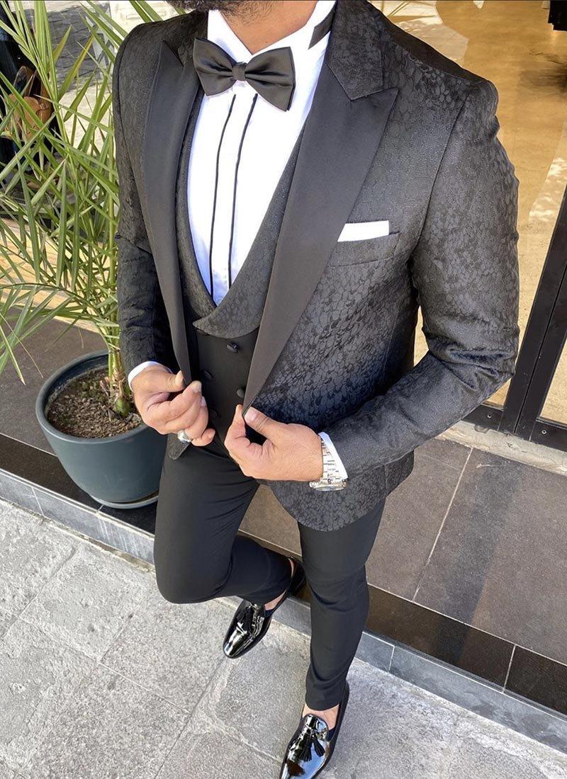 Мъжки втален смокинг черен цвят 3951-1