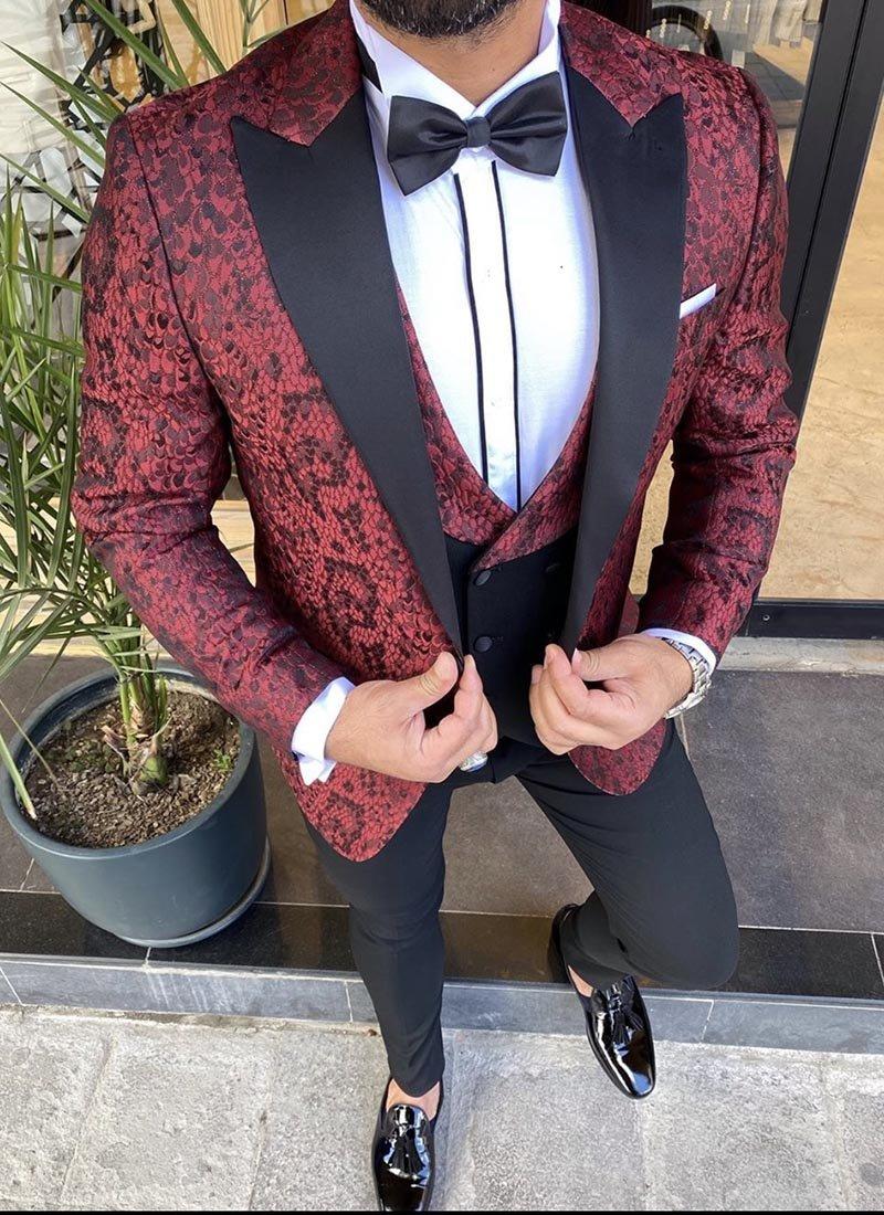 Мъжки втален смокинг червен черен цвят 3951