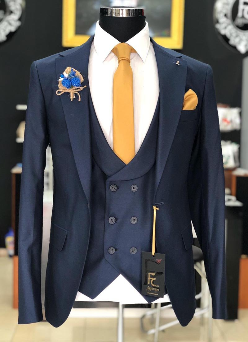 Мъжки втален костюм тъмно син цвят 3061-2