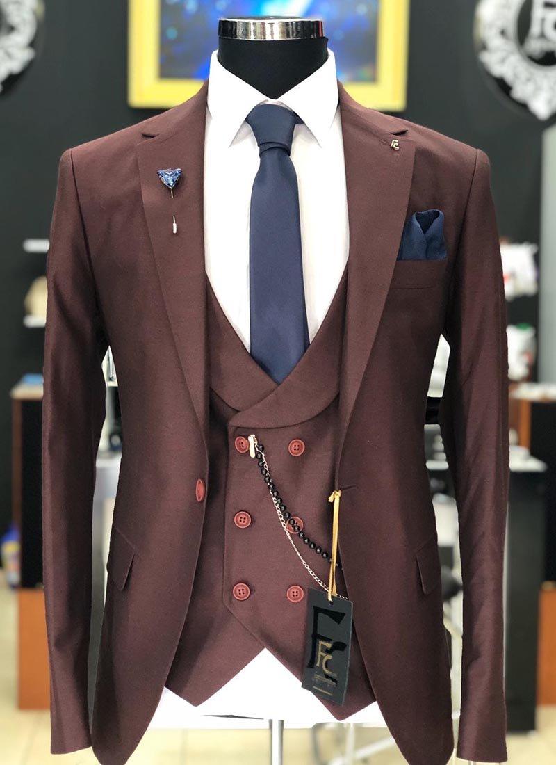 Мъжки втален костюм вишнево червен цвят 3061-3
