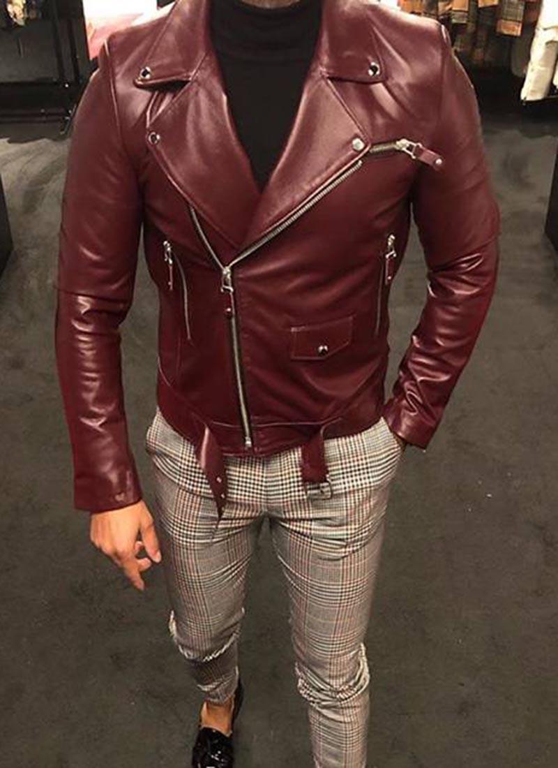 Мъжко яке от естествена кожа бордо