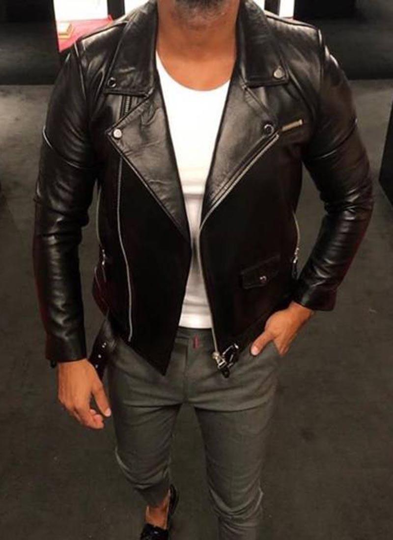 Мъжко яке от естествена кожа черно