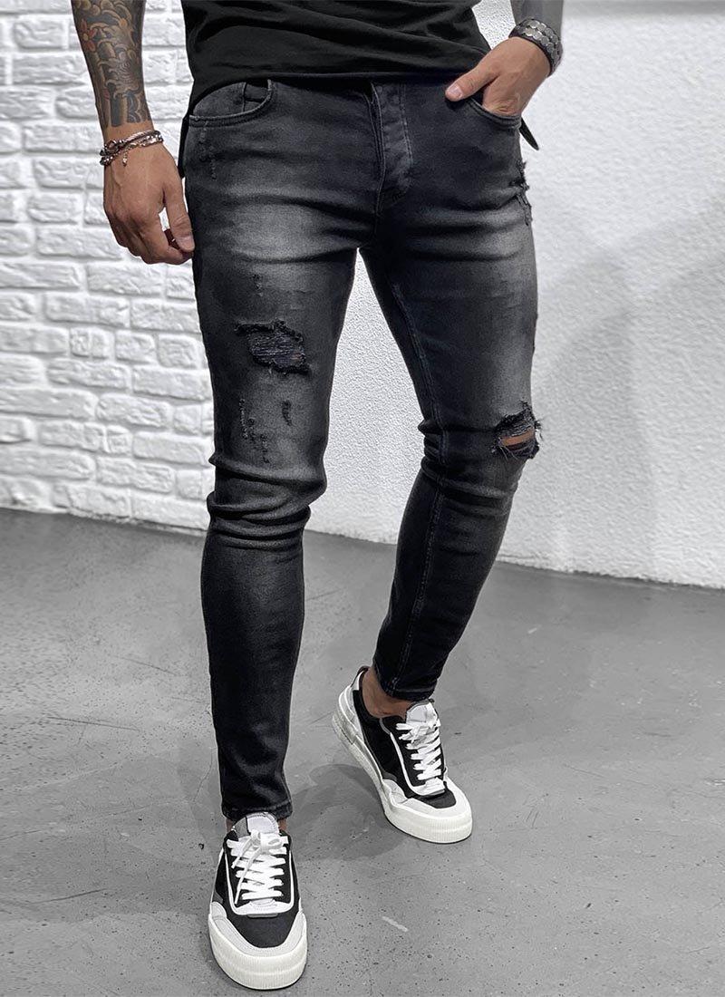 Мъжки дънки в черен цвят разнищени