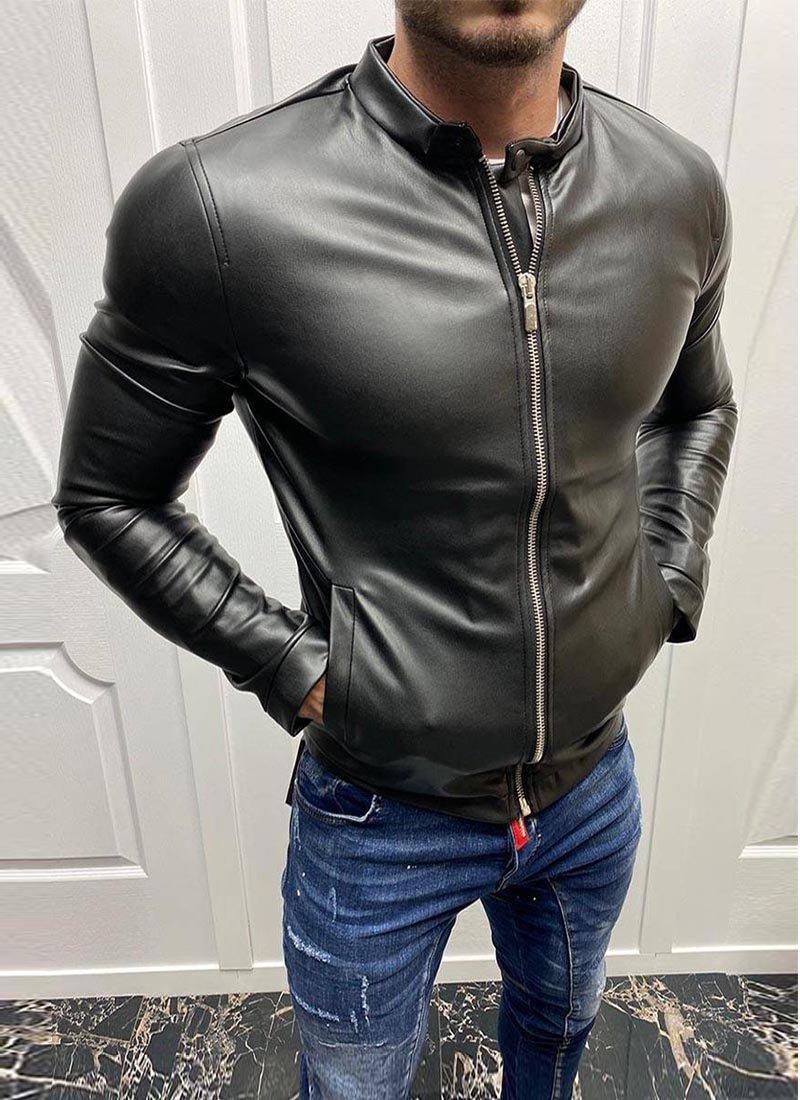 Мъжко кожено яке черен цвят копче